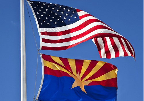 Arizona flag Under US Flag